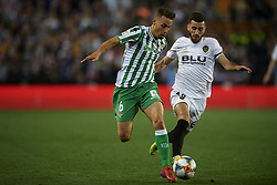 February 28, 2019 - Valencia, Valencia, Spain - Sergio Canales of Betis  and Jose Gaya competes for the ball during the Copa del Rey Semi Final match second leg between Valencia CF and Real Betis Balompie at Mestalla Stadium in Valencia, Spain on February 28, 2019. (Credit Image: © Jose Breton/NurPhoto via ZUMA Press)