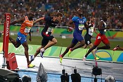 18-08-2016 BRA: Olympic Games day 13, Rio de Janeiro<br /> Churandy Martina wordt vijfde en komt  1 honderdste tekort voor brons. vlnr : Churandy Martina  ,  Christophe Lemaitre ,  Lashawn Merritt