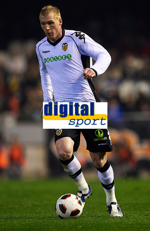 VALENCIA, SPAIN - FEBRUARY 06: Jeremy Mathieu of Valencia in action during the La Liga match between Valencia CF and Hercules CF at the Mestalla Stadium on February 06, 2011 in Valencia, Spain. Valencia won 2-0.(Photo by Manuel Queimadelos/SSP / DPPI).