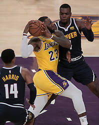October 25, 2018 - Los Angeles, California, U.S - LeBron James #23 of the Los Angeles Lakers drives to the basket during their NBA game with the Denver Nuggets on Thursday October 25, 2018 at the Staples Center in Los Angeles, California. Lakers defeat Nuggets, 121-114. (Credit Image: © Prensa Internacional via ZUMA Wire)