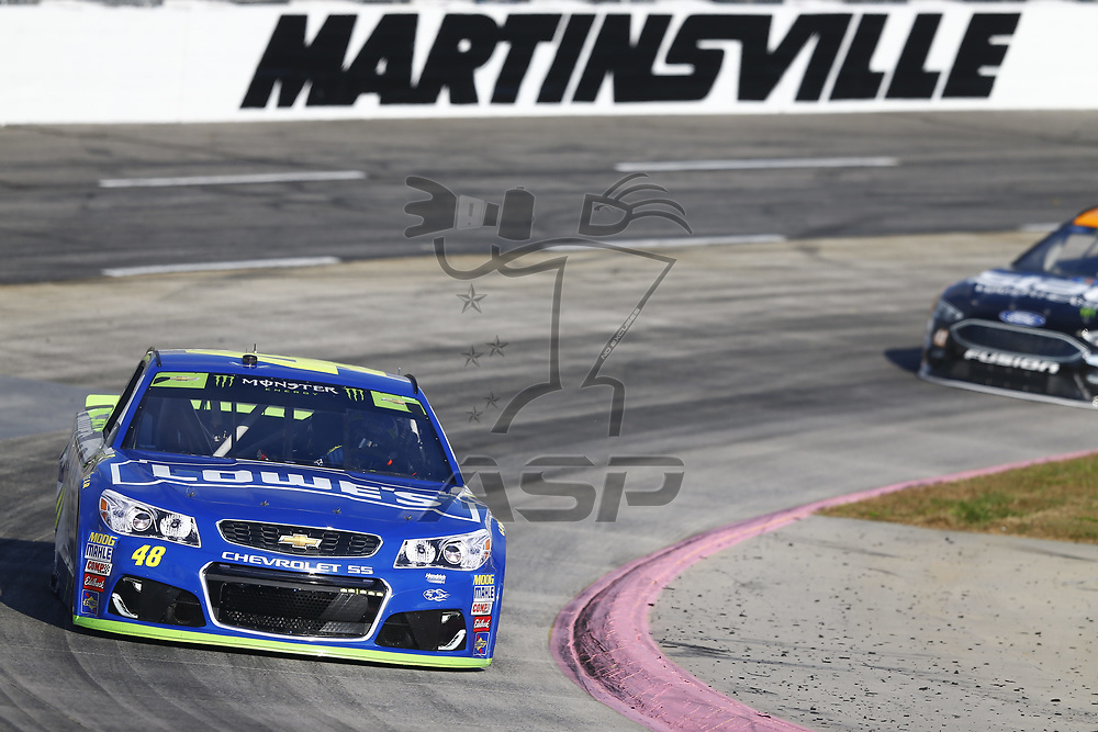 October 28, 2017 - Martinsville, Virginia, USA: Jimmie Johnson (48) brings his car through the turns during practice for the First Data 500 at Martinsville Speedway in Martinsville, Virginia.