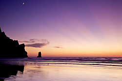 Crescent moon, crepuscular rays, Sunset, Morro Bay, California