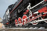 Steam Train EM-4249 as a monument at Vikhorevka station, district of Irkutsk. Siberia, Russia