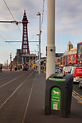 Bin for horse manure on the sea front on 21st April 2021 in Blackpool, Lancashire, United Kingdom. About 100 horses which pull taxi carriages along Blackpool promenade. Blackpool is a large town and seaside resort in the county of Lancashire on the north west coast of England. Blackpool was once a booming resort with it's famous promenade which now, despite having a somewhat shabby appearance, still continues to attract millions of visitors each year. During the coronavirus pandemic however, Blackpool has struggled, with empty streets and closed down businesses creating an atmosphere more like a ghost town.