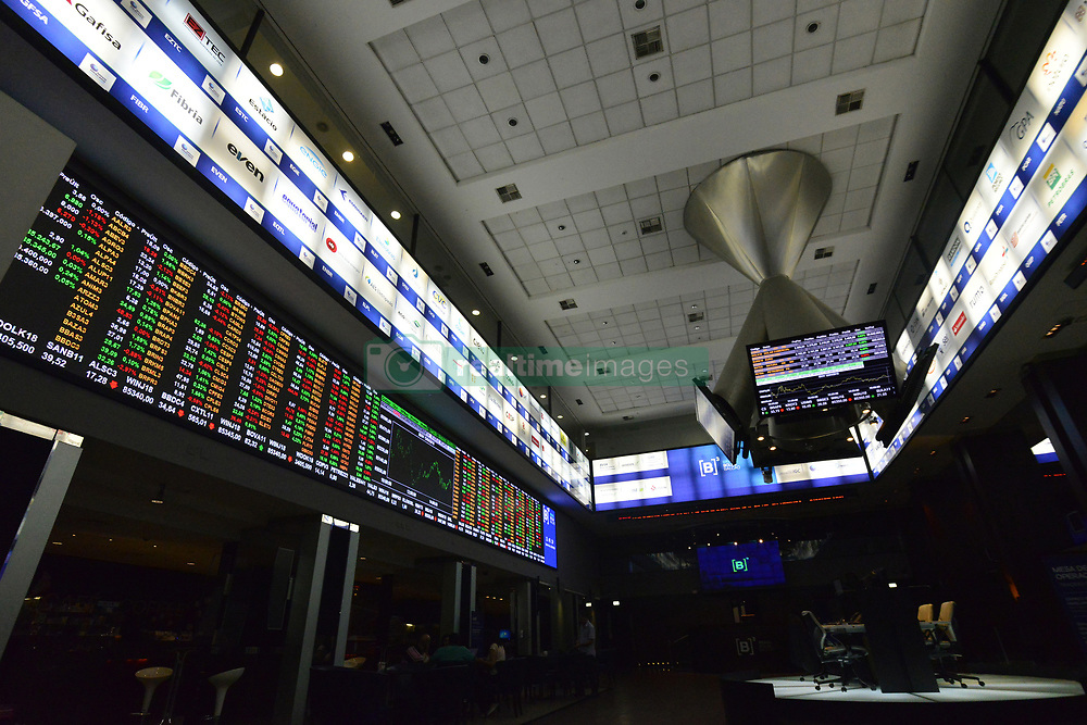 April 12, 2018 - Sao Paulo, Brazil - Ibovespa, the main index of the Sao Paulo stock market closed Has Slight Bullishness on 12 April 2018. The dollar traded with slight swings against the real on Thursday after US President Donald Trump lowered the tone of his threats by stating that an attack on Syria could not be so imminent. Contained items were also seen on the Ibovespa, which gained some respite with the decrease of geopolitical tensions abroad, while the local political scene continued to arouse caution. The rates of most interest rate futures contracts, however, declined, after new and weak economic data consolidated the path of a new interest rate cut by the BankCentral and with the quieter exterior. US stock markets were advancing in line with expectations that US tax reform would boost corporate profits and relief from nervousness over eventual US military conflict with Russia in Syria. (Credit Image: © Cris Faga/NurPhoto via ZUMA Press)