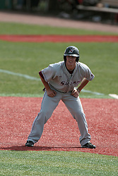 26 April 2014:    Will Farmer at first base during an NCAA Division 1 Missouri Valley Conference (MVC) Baseball game between the Southern Illinois Salukis and the Illinois State Redbirds in Duffy Bass Field, Normal IL