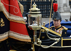 © Licensed to London News Pictures. 09/05/2012. Westminster, UK HRH Princess Anne.  The procession carrying Queen Elizabeth II on its way to the Palace of Westminster today 9th May 2012. It is the first Queen's Speech, the grandest event on the parliamentary calendar, since shortly after the coalition Government was formed. The statement usually takes place each autumn. Photo credit : Stephen Simpson/LNP