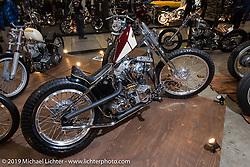 Hiromichi Nishiyama's Cycle West heavily engraved rigid Harley-Davidson Shovelhead at the annual Mooneyes Yokohama Hot Rod and Custom Show. Japan. Sunday, December 7, 2014. Photograph ©2014 Michael Lichter.