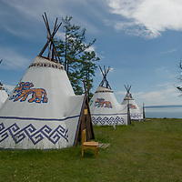 A tourist ger camp at Toilogt, beside Lake Hovsgol in Lake Hovsgol National Park, Mongolia.