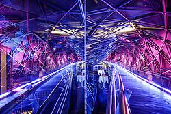 """THEMENBILD - Nachtaufnahmen der neuen Murinsel in Graz am 27.02.2017 nach der Restauration. Die Murinsel wurde anl. der Kulturhauptstadt Graz 2003 in der Mur installiert //  The """"Island in the Mur"""" after restauration on 27/02/2017 in Graz. The """"Island in the Mur"""" was installed for the Culture Capitol Graz in 2003. EXPA Pictures © 2017, PhotoCredit: EXPA/ Erwin Scheriau"""