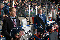 KELOWNA, BC - DECEMBER 27:  Kamloops Blazers' head coach Shaun Clouston and assistant coach Cory Clouston stand on the bench against the Kelowna Rockets at Prospera Place on December 27, 2019 in Kelowna, Canada. (Photo by Marissa Baecker/Shoot the Breeze)