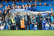 José Mourinho, the Chelsea Manager shouts during the second half. Barclays Premier league match, Chelsea v Manchester Utd at Stamford Bridge Stadium in London on Saturday 18th April 2015.<br /> pic by John Patrick Fletcher, Andrew Orchard sports photography.
