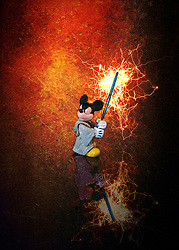 Mickey Mouse Wields A Light Saber, Ready For Battle.<br />