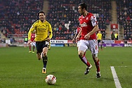 Middlesbrough forward David Nugent (35)  closes down Rotherham United defender Richard Wood (6)  during the Sky Bet Championship match between Rotherham United and Middlesbrough at the New York Stadium, Rotherham, England on 8 March 2016. Photo by Simon Davies.