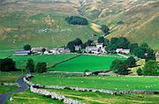 Limestone scenery and farming hamlet Halton Gill Yorkshire Dales national park England