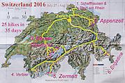 A geographic travel map of Switzerland shows a month itinerary starting from Zurich (doing 25 hikes in 35 days July 27-August 30) in Schaffhausen, Stein am Rhein, Appenzell, Berner Oberland, Valais canton (Fiesch, Verbier, Zermatt) and Engadine Valley, in Europe.