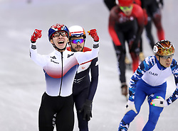 Republic of Korea's Hyojun Lim wins the gold medal for the Men's 1500m Short Track Final A during day one of the PyeongChang 2018 Winter Olympic Games in South Korea.