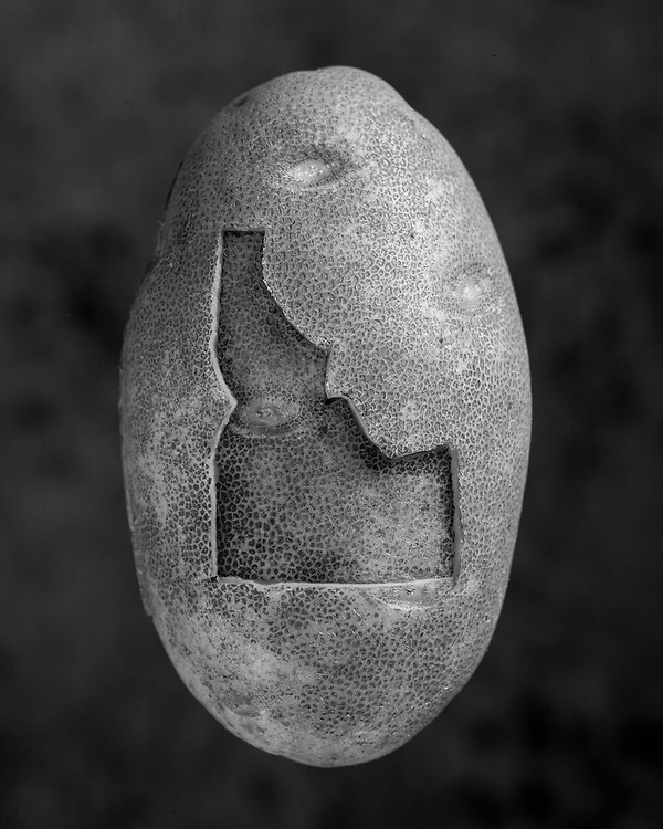 Limited Editions of 75 All Sizes Included.  Black and white portrait of an Idaho Potato.