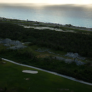 Aerial shot of El Rey ruins in hotel zone. Cancun, Quintana Roo, Mexico.