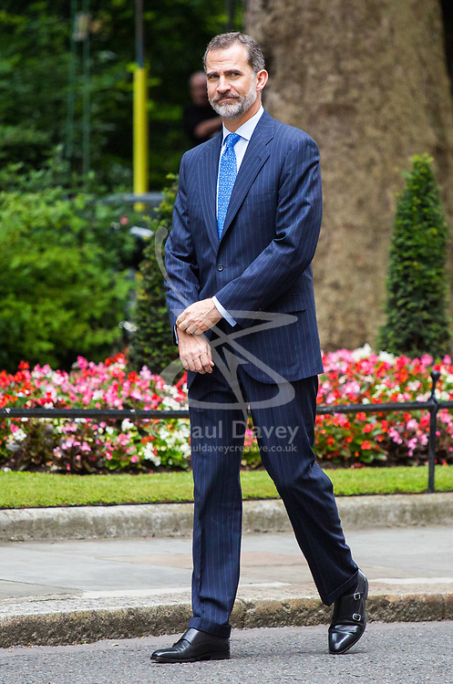 London, July 13th 2017. Prime Minister Theresa May welcomes King Felipe of Spain to 10 Downing Street as part of his state visit with Queen Letizia to the United Kingdom