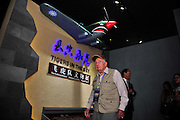 """KUNMING, CHINA - SEPTEMBER 06: (CHINA OUT)<br /> <br /> Flying Tiger Veterans Visit The Cultural Relics Exhibition Of The Flying Tigers In Kunming<br /> <br /> A Flying Tiger veteran visits The Cultural Relics\' Exhibition of the \""""Flying Tigers\"""" at Kunming Museum on September 6, 2015 in Kunming, Yunnan Province of China. <br /> <br /> The 1st American Volunteer Group (AVG) of the Chinese Air Force in 1941–1942, nicknamed the Flying Tigers, was composed of pilots from the United States Army Air Corps (USAAC), Navy (USN), and Marine Corps (USMC), recruited under presidential authority and commanded by Claire Lee Chennault. The shark-faced nose art of the Flying Tigers remains among the most recognizable image of any individual combat aircraft or combat unit of World War II.<br /> ©Exclusivepix Media"""