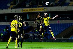 Zain Walker of Bristol Rovers beats Sam Long of Oxford United to a header - Mandatory by-line: Robbie Stephenson/JMP - 06/10/2020 - FOOTBALL - Kassam Stadium - Oxford, England - Oxford United v Bristol Rovers - Leasing.com Trophy