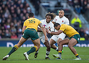 Twickenham, United Kingdom. Marland YARDE, caught in the gap, during the Old Mutual Wealth Series Rest Match: England vs Australia, at the RFU Stadium, Twickenham, England, <br /> <br /> Saturday  03/12/2016<br /> <br /> [Mandatory Credit; Peter Spurrier/Intersport-images]