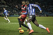Lucas Joao (Sheffield Wednesday) runs around Matt Phillips (QPR) and into the penalty box during the Sky Bet Championship match between Sheffield Wednesday and Queens Park Rangers at Hillsborough, Sheffield, England on 23 February 2016. Photo by Mark P Doherty.