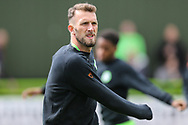 Forest Green Rovers Christian Doidge(9) warming up during the EFL Sky Bet League 2 match between Forest Green Rovers and Exeter City at the New Lawn, Forest Green, United Kingdom on 4 May 2019.