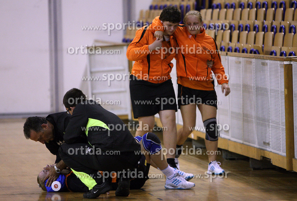 Mateja Suban of Brezice injured at  handball game between women team RK Olimpija vs ZRK Brezice at 1st round of National Championship, on September 13, 2008, in Arena Tivoli, Ljubljana, Slovenija. Olimpija won 41:17. (Photo by Vid Ponikvar / Sportal Images)