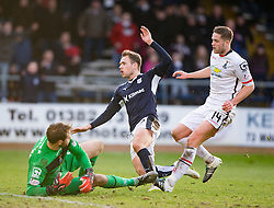 Dundee's Greg Stewart has his shot saved by Inverness Caledonian Thistle's keeper Owain Fon-Williams. <br /> Dundee 1 v 1 Inverness Caledonian Thistle, SPFL Ladbrokes Premiership game played at Dens Park, 27/2/2016.