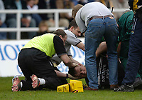 Photo: Jed Wee.<br />Newcastle Falcons v Leeds Tykes. Guinness Premiership. 06/05/2006.<br /><br />Newcastle's Matt Thompson receives treatment after a serious injury.
