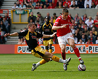 Photo: Steve Bond/Richard Lane Photography. <br />Nottingham Forest v Yeovil Town. Coca-Cola Football League One. 03/05/2008. Chris Cohen (R) is tackled by Anthony Barry (L)