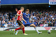 Chelsea defender Marcos Alonso (3) during the Premier League match between Chelsea and Sunderland at Stamford Bridge, London, England on 21 May 2017. Photo by John Potts.