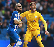 Brighton defender Bruno Saltor gets a grip of Preston North End striker Joe Grant during the Sky Bet Championship match between Brighton and Hove Albion and Preston North End at the American Express Community Stadium, Brighton and Hove, England on 24 October 2015. Photo by Bennett Dean.