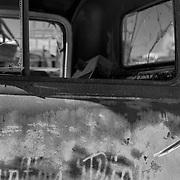 Rusted Truck Cab Door - Motor Transport Museum - Campo, CA - Black & White