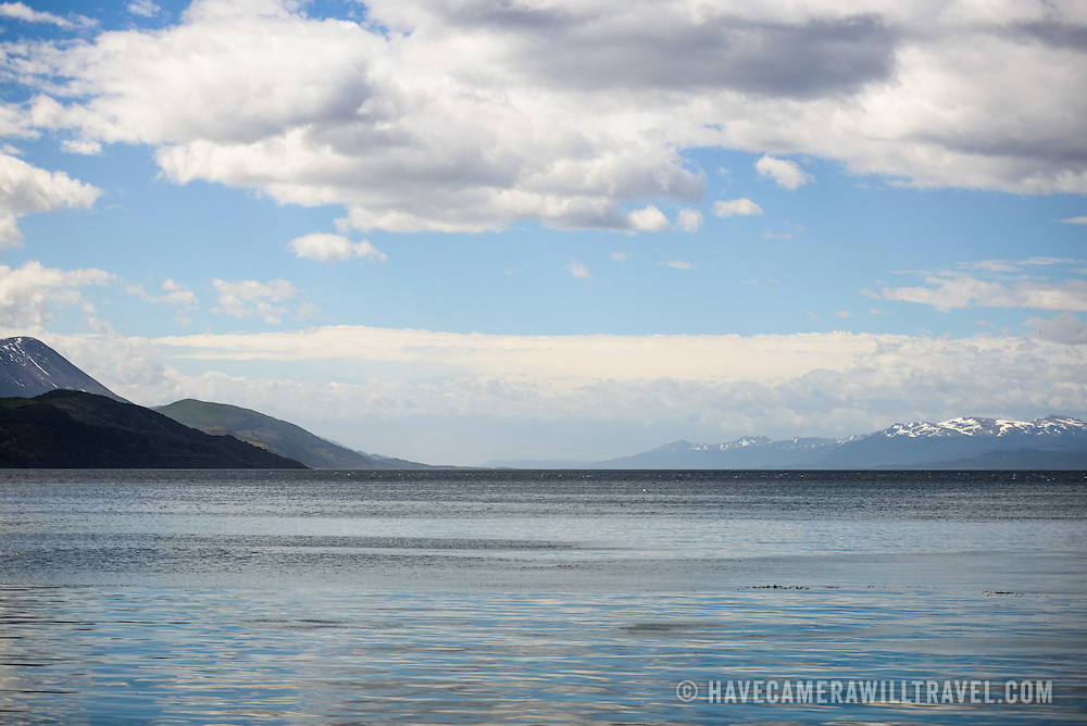Looking south across the Beagle Channel from Ushuaia, Argentina. The snow-capped mountains in the distance are across the Beagle Channel in Chile.