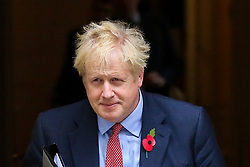 © Licensed to London News Pictures. 29/10/2019. London, UK. British Prime Minister BORIS JOHNSON departs from Number 10 Downing Street for the House of Commons where later today MPs will debate and vote on a Bill which will call for a general election on 12 December 2019. Labour Party will back an early election. Photo credit: Dinendra Haria/LNP