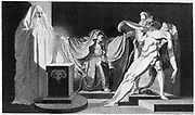 Saul and the Witch of Endor. 'Bible' 1 Samuel 28. Saul tries to contact dead Samuel through the witch. She brings Samuel 'out of the earth' (Necromancy)  when he has promised he will not harm her  Engraving of 1792 after Fuseli.
