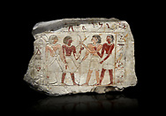 Ancient Egyptian stele of  2 pairs of archers of different ethnic groups, limestone, First Inttermediate Period, (2118-1980 BC), Goblein, Tomb of iti and Neferu, 88967-960-Senebetysy-Stele-Ancient-Egypt Egyptian Museum, Turin. black background<br /> <br /> The stele was wedged into a painting in the east wall of the hallway, Schiaparelli cat 13115 .<br /> <br /> If you prefer to buy from our ALAMY PHOTO LIBRARY  Collection visit : https://www.alamy.com/portfolio/paul-williams-funkystock/ancient-egyptian-art-artefacts.html  . Type -   Turin   - into the LOWER SEARCH WITHIN GALLERY box. Refine search by adding background colour, subject etc<br /> <br /> Visit our ANCIENT WORLD PHOTO COLLECTIONS for more photos to download or buy as wall art prints https://funkystock.photoshelter.com/gallery-collection/Ancient-World-Art-Antiquities-Historic-Sites-Pictures-Images-of/C00006u26yqSkDOM