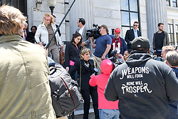 June 7, 2017 - Norristown, Pennsylvania, U.S - GLORIA ALLRED, dressed in black,  comes out of court to address the press during the lunch break on day three of Bill Cosby's sexual assault trial in Montgomery County PA (Credit Image: © Ricky Fitchett via ZUMA Wire)