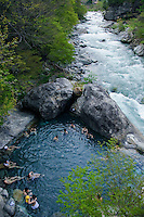 Shin Hodaka No Yu Hot Springs Shin Hodaka No Yu Hot Springs  just next to the Kamata river.  If the soothing hot water at the onsen is not relaxing enough, the rushing waters of the adjacent river will calm your nerves if nothing else does.