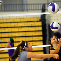 082013  Adron Gardner/Independent<br /> <br /> Miyamura lady Patriots practice their passes during volleyball practice Miyamura High School in Gallup Tuesday.
