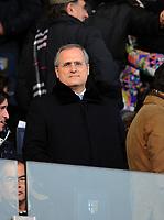 """Claudio Lotito (Lazio).<br /> Parma, 14/02/2010 Stadio """"Tardini""""<br /> Parma-Lazio.<br /> Campionato Italiano Serie A 2009/2010<br /> Foto Nicolò Zangirolami Insidefoto"""