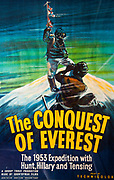 The conquest of Everest, The 1953 expedition with Hunt, Hillary & Tenzing - film poster from early 1950s, Nepal.