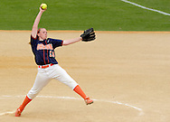 Middletown, NY - Orange County Community College pitcher Ashley Renwick winds up during a game against Mercer County Community Collegethe National Junior College Athletic Association District G women's softball championship game at Fancher Davidge Park on May 5, 2007.