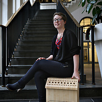 Nederland, Amsterdam , 20 januari 2015.<br /> Claire Hornn en haar ontwerp van de z.g. wormencompostbak.<br /> Studio Claire Hornn is a fresh and young design studio which focus on co-creation and sustainability.
