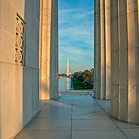 The U.S. Capitol Building, Washington Monument, National Mall & Lincoln Memorial Reflecting Pool, as viewed from the Lincoln Memorial in Washington, D.C.