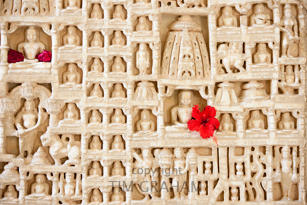 White marble religious icon carvings at The Ranakpur Jain Temple at Desuri Tehsil in Pali District of Rajasthan, India
