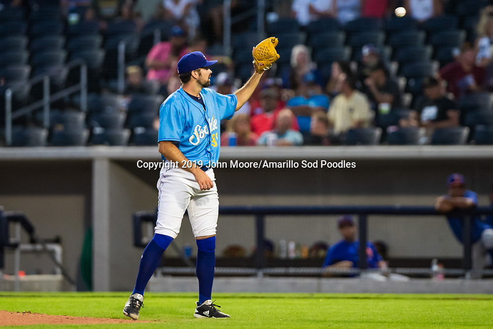 Amarillo Sod Poodles pitcher Jesse Scholtens (38) pitches against the Midland RockHounds on Wednesday, Aug. 14, 2019, at HODGETOWN in Amarillo, Texas. [Photo by John Moore/Amarillo Sod Poodles]